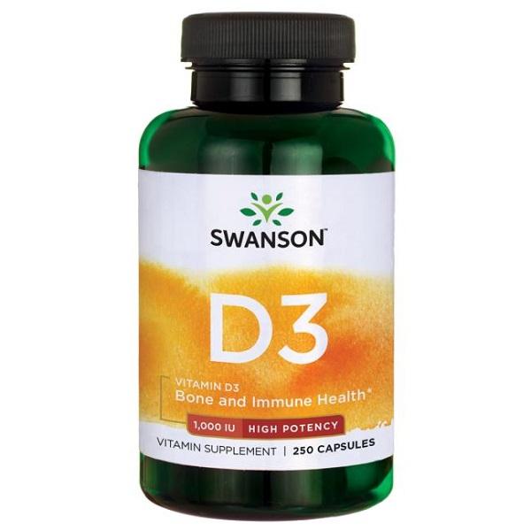 Supliment alimentar, Vitamina D3 1000 UI, Swanson High Potency Vitamin D3 - 250 capsule [0]
