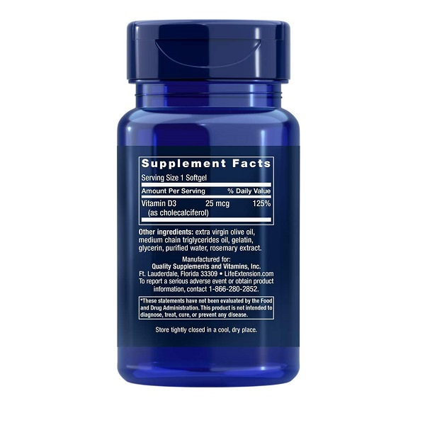 Supliment alimentar, Vitamina D3, Imunitate, Densitate Osoasa si Sistem Cardiovascular, Life Extension Vitamin D3 - 90 capsule (90 doze) [1]