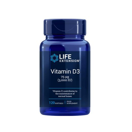 Supliment alimentar, Vitamina D3 3000 UI, Imunitate, Densitate Osoasa si Sistem Cardiovascular, Life Extension Vitamin D3 - 120 capsule (120 doze) [0]