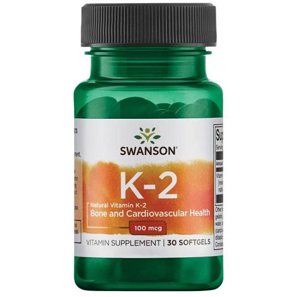 Supliment alimentar, Vitamina K2 Natto MK-7, Swanson Natural Vitamin K2 (Menaquinone-7) - 30 capsule (30 doze) [0]