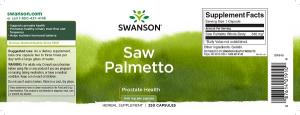 Supliment alimentar, Prostata si Confort Urinar, Extract de Palmier Pitic, Swanson Saw Palmetto - 250 capsule (250 doze) [1]