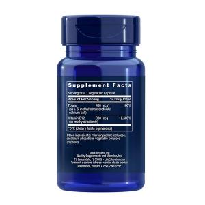 Supliment alimentar, Folat (400 mcg) cu Vitamina B12 (300 mcg), Life Extension BioActive Folate & Vitamin B12 - 90 capsule (90 doze) [1]