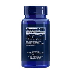 Supliment alimentar, L-Metilfolat (1000 mcg), Life Extension Optimized Folate - 100 comprimate (100 doze) [1]