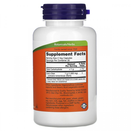 Supliment alimentar, Gheara Pisicii (500 mg), Now Foods Cat's Claw - 100 capsule [1]