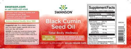 Supliment alimentar, Ulei de Chimen Negru (500 mg), Swanson Black Cumin Seed Oil - 60 capsule (60 doze) [1]