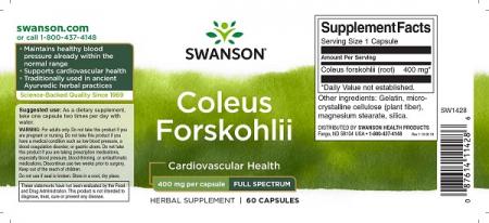 Supliment alimentar, Coleus Forskohlii (400 mg), Swanson Full Spectrum Coleus Forskohlii - 60 capsule (60 doze) [1]