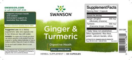Supliment alimentar, Tonic pentru Sistemul Digestiv, Swanson Full Spectrum Ginger and Turmeric - 60 capsule (60 doze) [1]