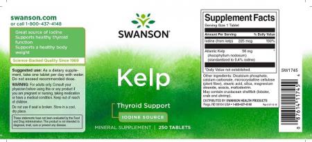 Supliment alimentar, Suport pentru Glanda Tiroida (Iod), Swanson Kelp Thyroid Support - 250 comprimate (250 doze) [1]