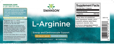 Supliment alimentar, L-arginina (850 mg) Swanson L-Arginine - 90 capsule (90 doze) [1]