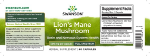 Supliment alimentar, Extract de Coama Leului (500 mg), Swanson Lion's Mane Mushroom - 60 capsule (60 doze) [1]