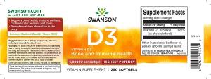 Supliment alimentar, Vitamina D3 5000 UI, Swanson Highest Potency Vitamin D3 - 250 capsule (250 doze) [1]