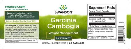 Supliment alimentar, Arzator de Grasimi si Slabit, Swanson Garcinia Cambogia 5:1- 60 capsule (60 doze) [1]