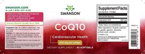 Supliment alimentar, Coenzima Q10 (400 mg), Swanson CoQ10 - 30 capsule (30 doze) [1]