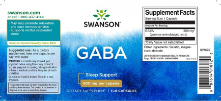 Supliment alimentar, Acid Gama-Aminobutiric (500 mg) Swanson High Potency GABA - 100 capsule [1]