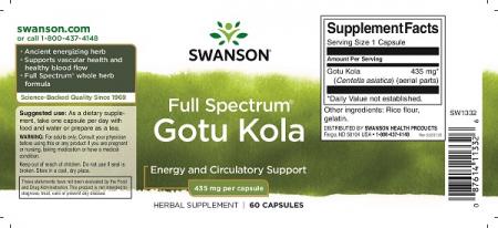 Supliment alimentar, Gotu Kola (435 mg), Swanson Full Spectrum Gotu Kola - 60 capsule (60 doze) [1]