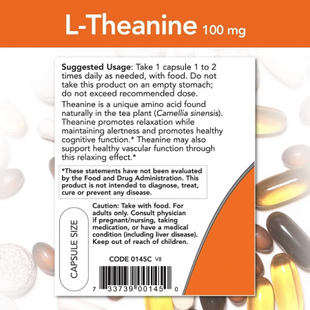 Supliment alimentar, L-Teanina (100 mg), Now Foods L-Theanine - 90 capsule (90 doze) [2]