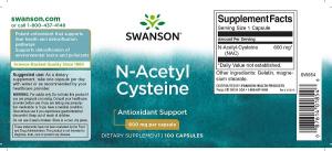 Supliment alimentar, N-Acetil Cisteina (600 mg), Swanson NAC N-Acetyl Cysteine - 100 capsule (100 doze) [1]