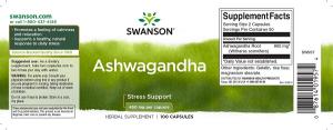 Supliment alimentar, Swanson Ashwagandha (900 mg) - 100 capsule (50 doze) [1]