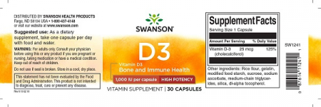 Supliment alimentar, Vitamina D3 1000 UI, Swanson High Potency Vitamin D3 - 30 capsule [2]
