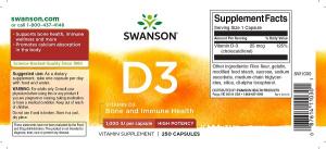 Supliment alimentar, Vitamina D3 1000 UI, Swanson High Potency Vitamin D3 - 250 capsule [1]
