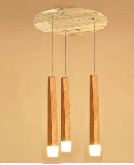 Lustra led lemn 3 pendule 15w [0]
