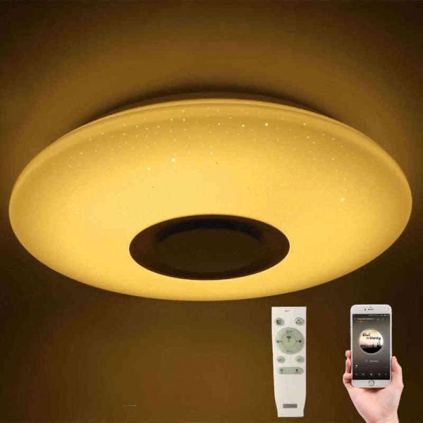 Plafoniera LED dimabila RGB cu difuzor bluetooth si telecomanda 24W 1