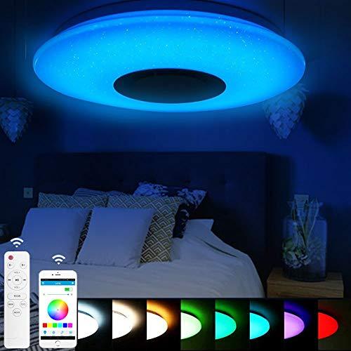 Plafoniera LED dimabila RGB cu difuzor bluetooth si telecomanda 24W 2