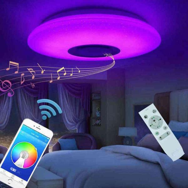 Plafoniera LED dimabila RGB cu difuzor bluetooth si telecomanda 24W 3