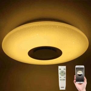 Plafoniera LED dimabila RGB cu difuzor bluetooth si telecomanda 24W1
