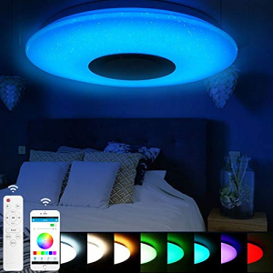 Plafoniera LED dimabila RGB cu difuzor bluetooth si telecomanda 24W2