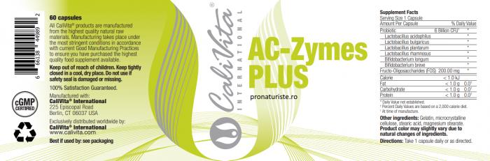 AC-Zymes Plus (60 capsule) supliment alimentar cu pro şi prebiotice pentru sistemul digestiv. [1]