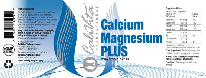 Calcium Magnesium Plus CaliVita (100 capsule) calciu, magneziu + vitaminele D3 și K2 2