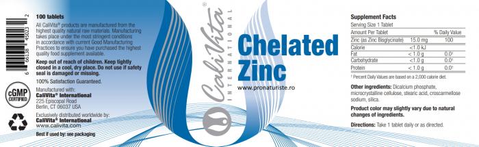 Chelated Zinc  CaliVita (100 tablete) Zinc organic 2