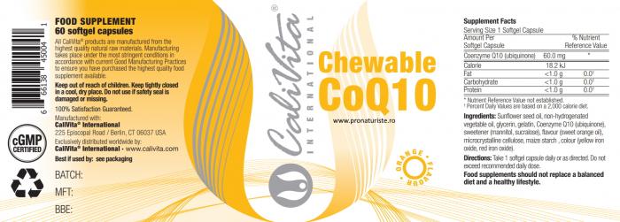 Chewable Co Q10 Orange Flavour CaliVita (60 capsule gelatinoase masticabile) coenzima Q10 aromată 2