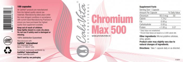 Chromium Max 500 CaliVita (100 capsule) Efect de control al apetitului. 2