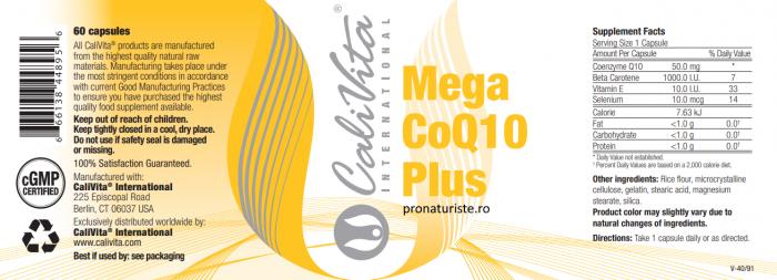 Mega CoQ10 Plus CaliVita (60 capsule) Megadoză de CoQ10 şi Antioxidanţi [1]