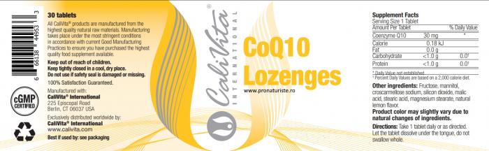 CoQ10 Lozenges CaliVita (30 tablete sublinguale) Coenzima Q10 cu absorbţie rapidă 2