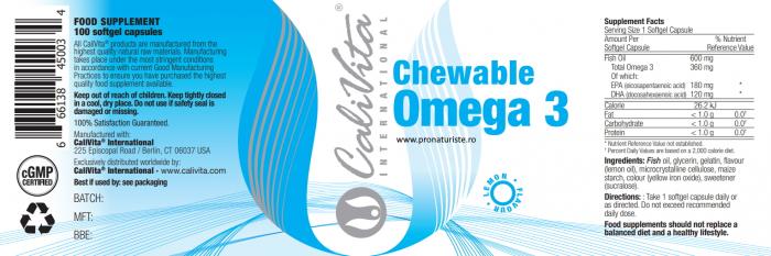 Chewable Omega 3 Lemon Flavour CaliVita (100 capsule gelatinoase masticabile) capsule omega 3 aromate 2