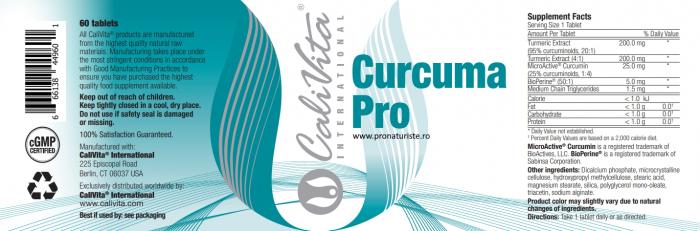 Curcuma Pro CaliVita  (60 tablete) Supliment alimentar cu extracte de turmeric 2
