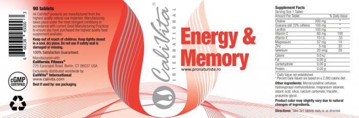 Energy & Memory CaliVita  (90 tablete) Stimulator Energetic [1]