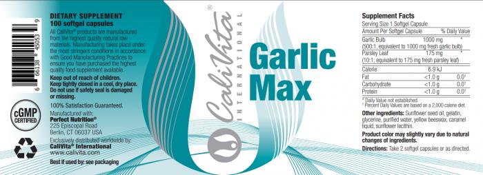 Garlic Max CaliVita (100 capsule gelationase) Produs naturist cu usturoi [1]