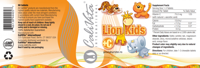 Lion Kids C CaliVita (90 tablete masticabile) Vitamina C pentru copii [1]