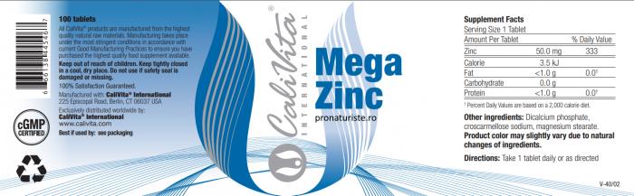 Mega Zinc (100 tablete) Megadoză de Zinc Organic [1]