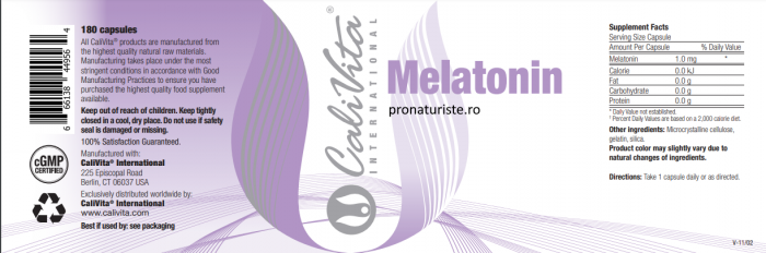 Melatonin 1 mg CaliVita (180 capsule) Sprijină somnul natural [1]