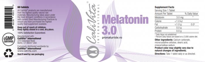 Melatonin 3.0 CaliVita (60 tablete) Ajutor pentru un somn natural [1]