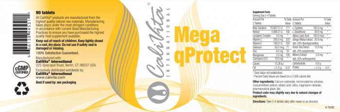 Mega qProtect (90 tablete) Megadoză de antioxidanţi [1]