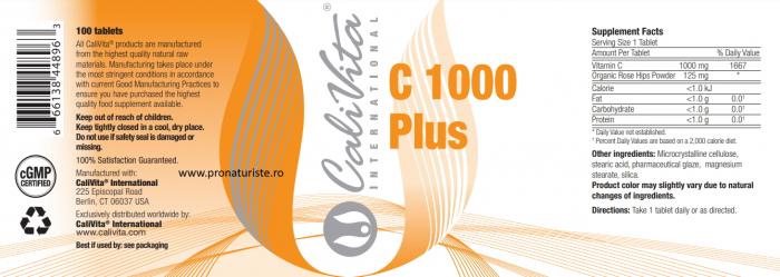 Vitamina C 1000 Plus CaliVita (100 tablete) Megadoză de vitamina C cu măceşe organiceÎnapoi 2