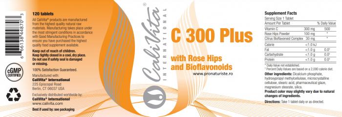 Vitamina C 300 Plus CaliVita (120 tablete) Complex vitamina C 2