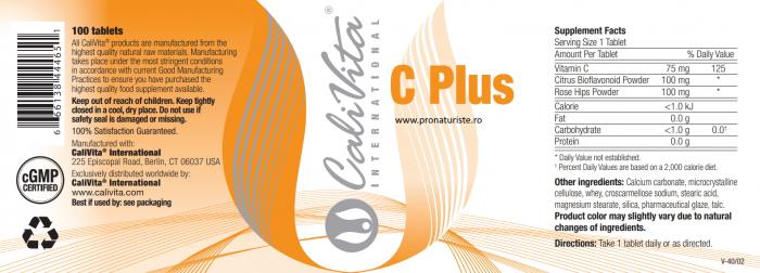Vitamina C Plus CaliVita  (100 tablete) Complex vitamina C [2]