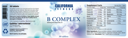 B Complex CaliVita (30 tablete) Complex cu vitamine B1